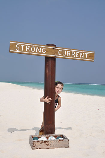 i bambini a Palm Beach Maldive