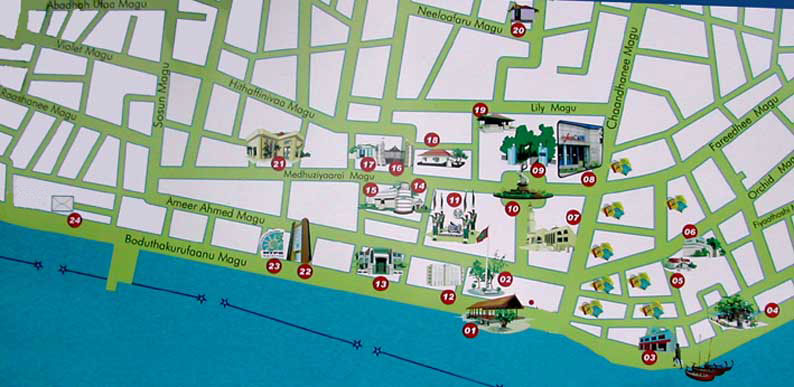 Piantina attrazioni turistiche a Male' Maldive
