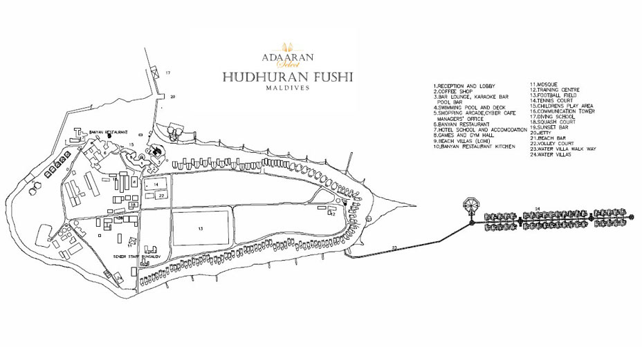 mappa Adaaran Hudhuran Fushi Maldive, Map Maldives
