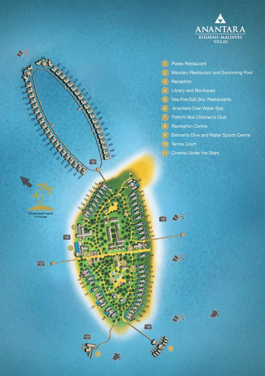 mappa Anantara Kihavah Maldive, Map Maldives