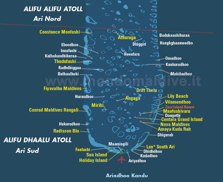 mappa atollo di Ari sud, Maldive