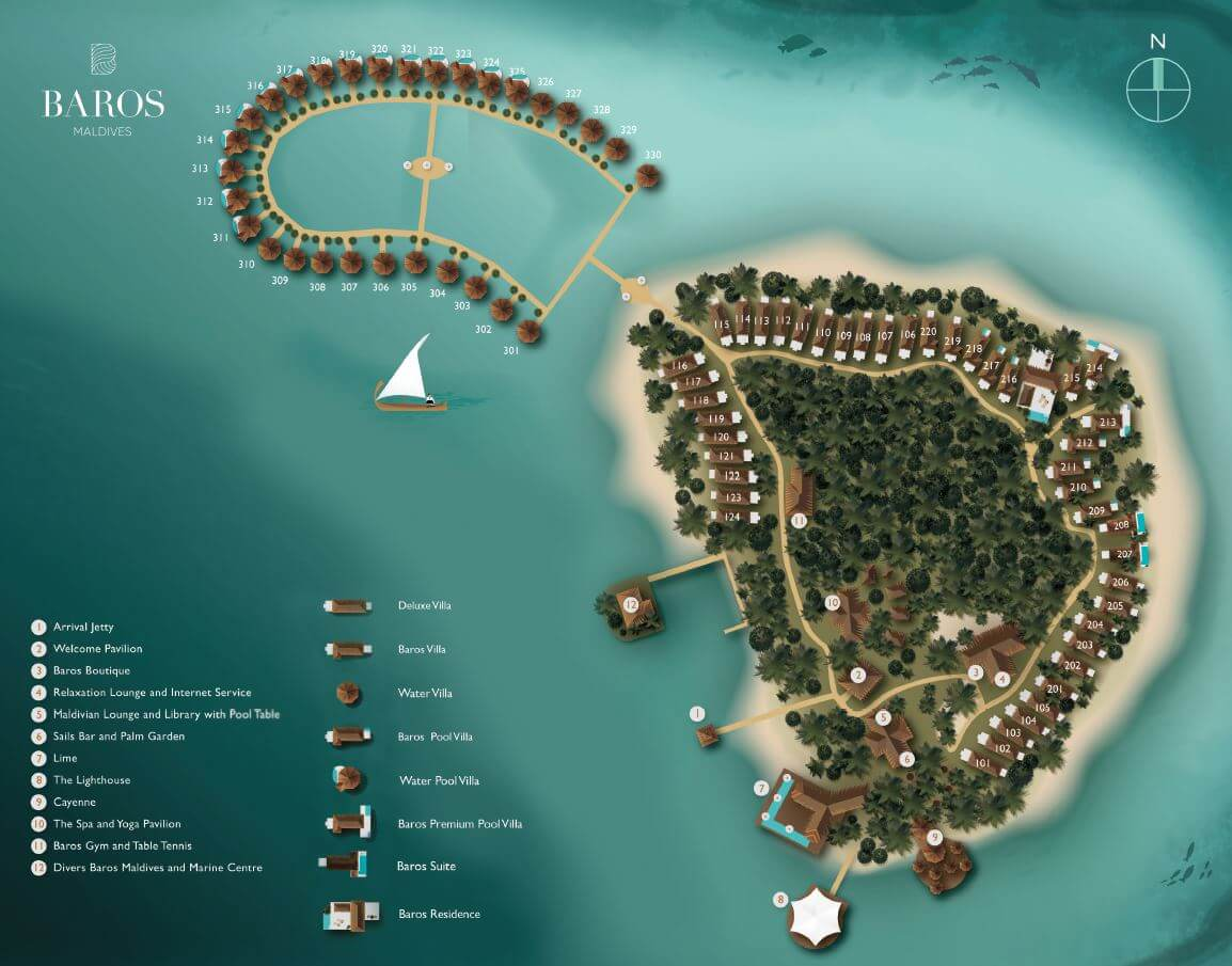 mappa Baros Maldive, Map Maldives