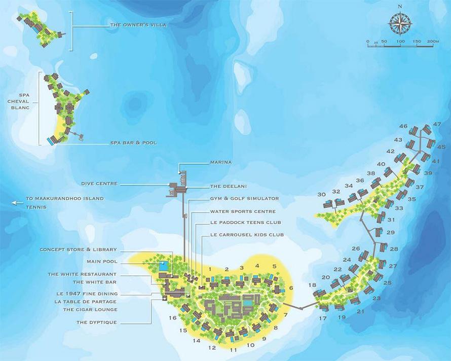 mappa Cheval Blanc Randheli, Map Maldives