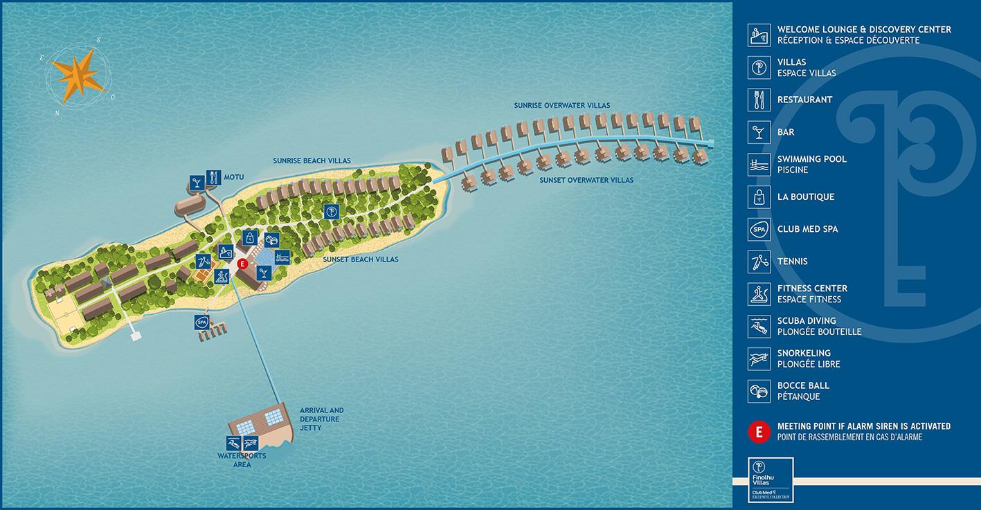 Mappa Finolhu Villas Club Med Maldives