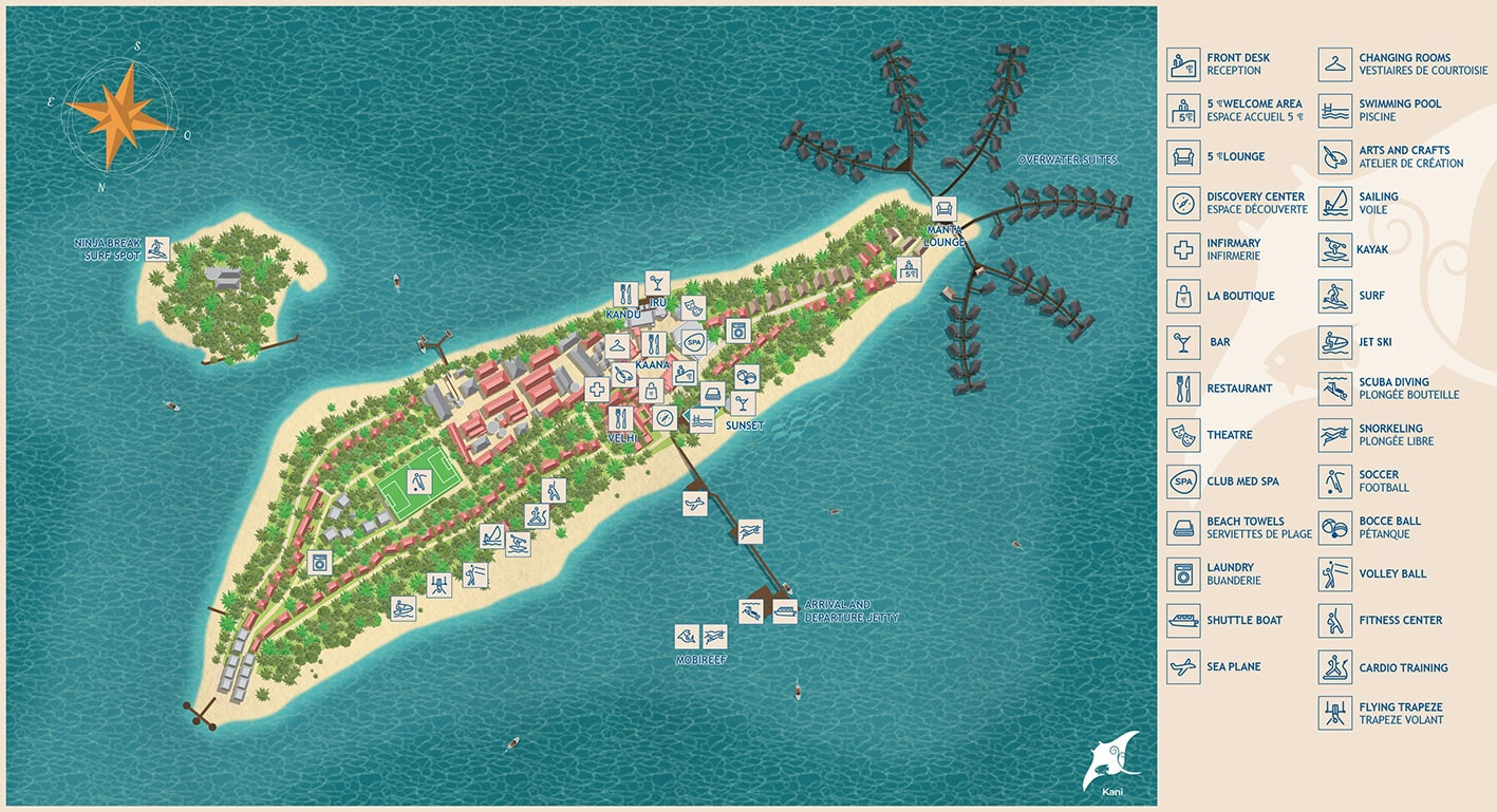 mappa Kani Club Med Maldive, Map Maldives