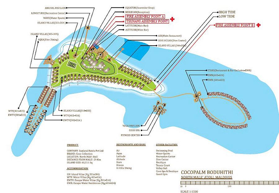 mappa Coco Palm Bodu Hithi Maldive, Map Maldives