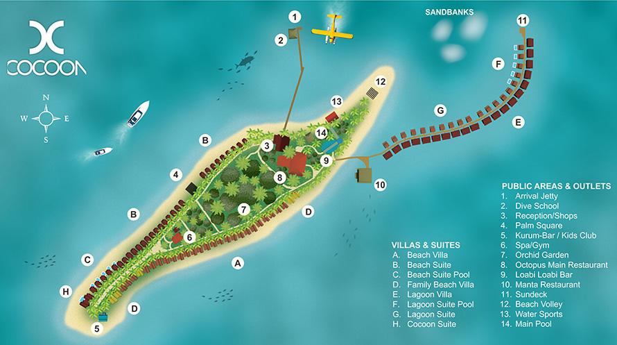 mappa Cocoon Maldive, Map Maldives