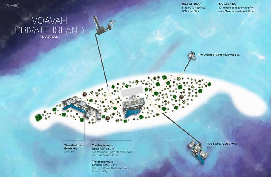 mappa Four Seasons Private Island Voavah Maldive, Map Maldives
