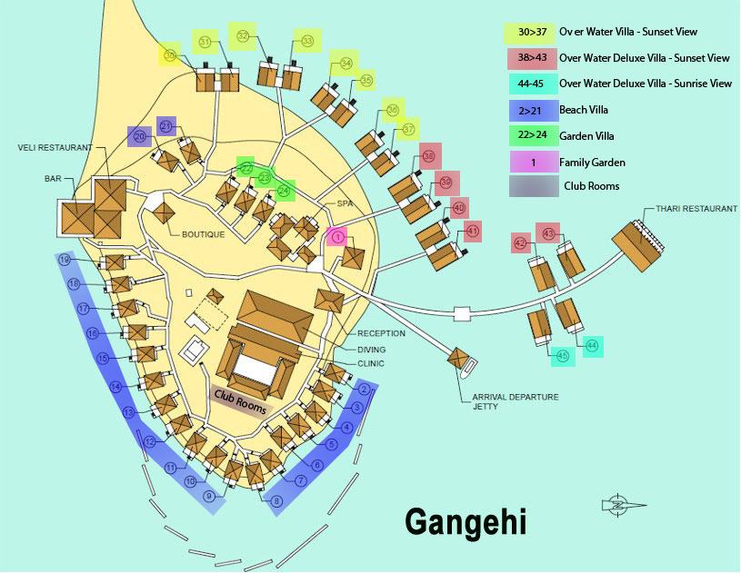 mappa Gangehi Maldive, Map Maldives