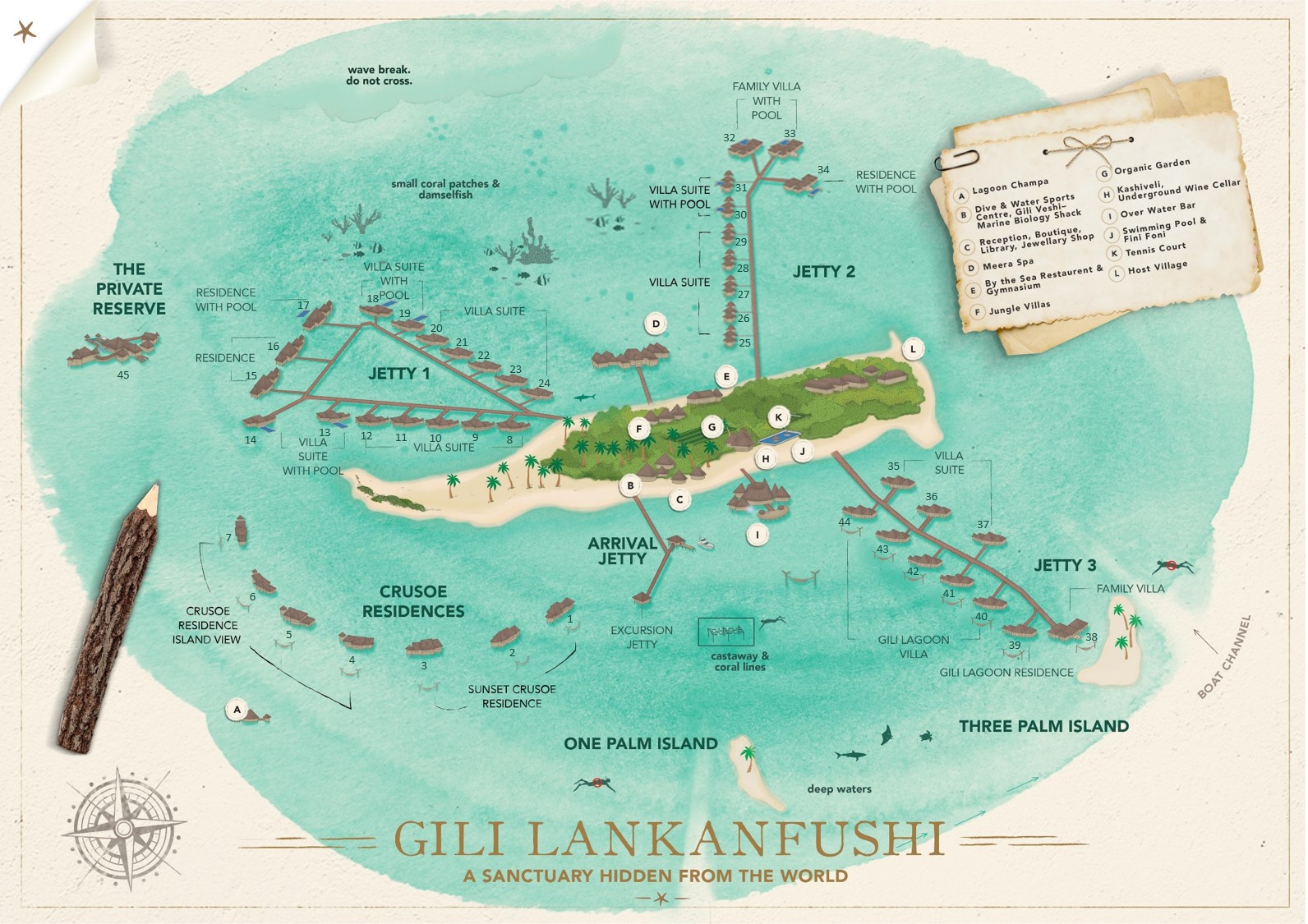 mappa Gili Lankanfushi Maldive, Map Maldives