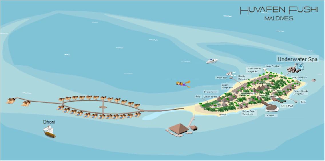 mappa Huvafen Fushi Maldive, Map Maldives