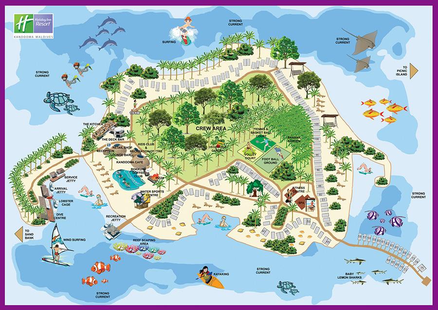 mappa Kandooma Maldive, Map Maldives