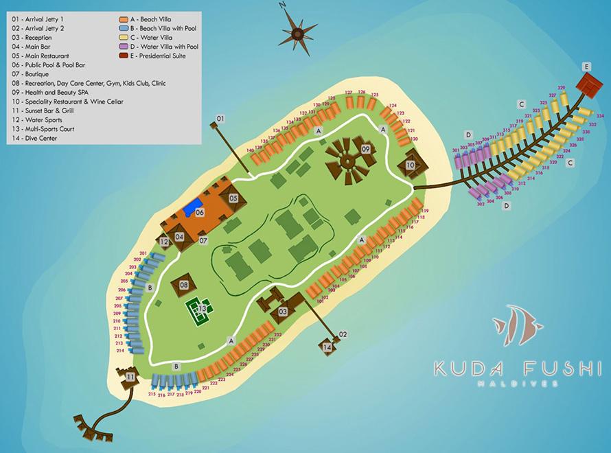 mappa Kudafushi Maldive, Map Maldives