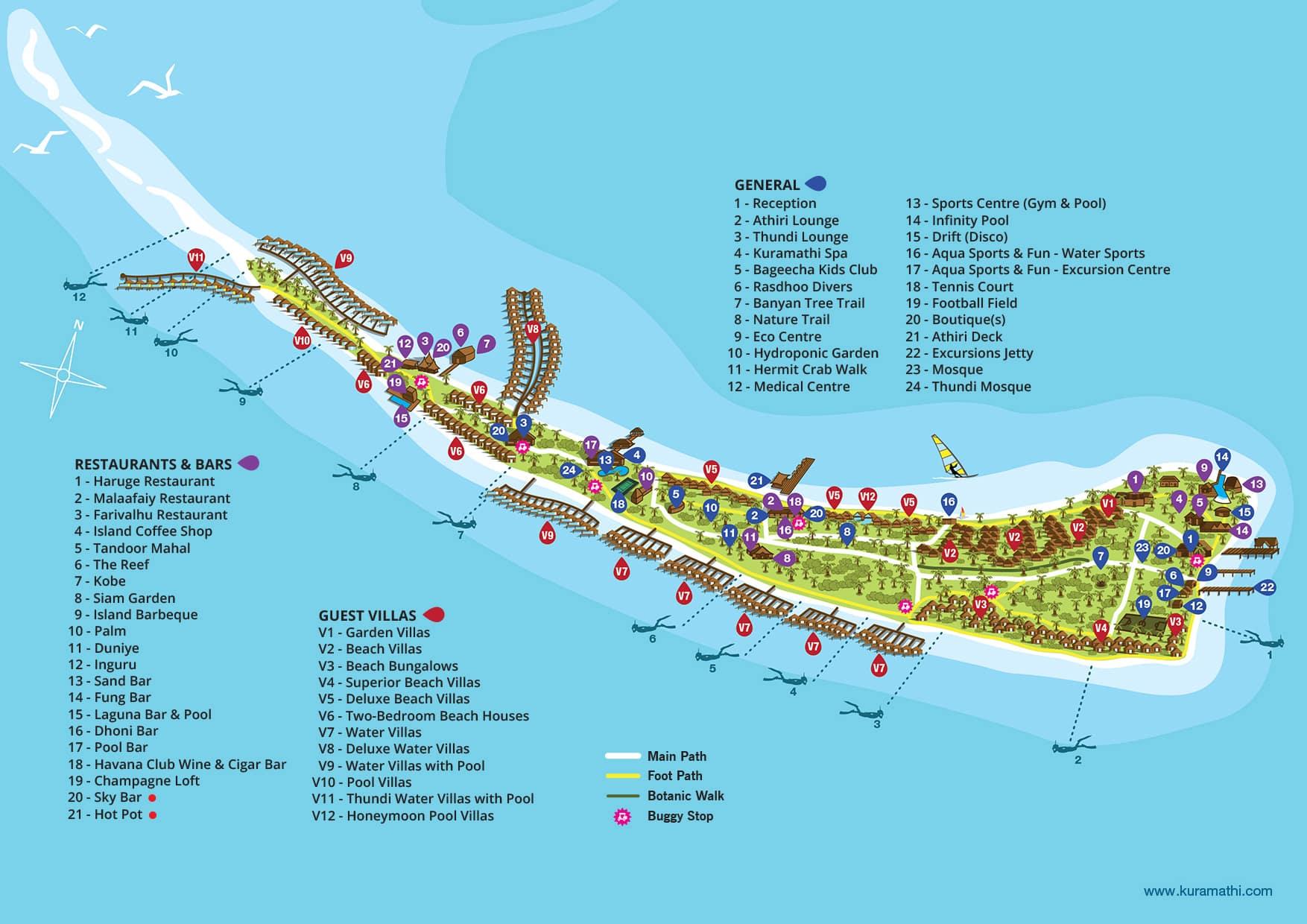 mappa Kuramathi Maldive, Map Maldives