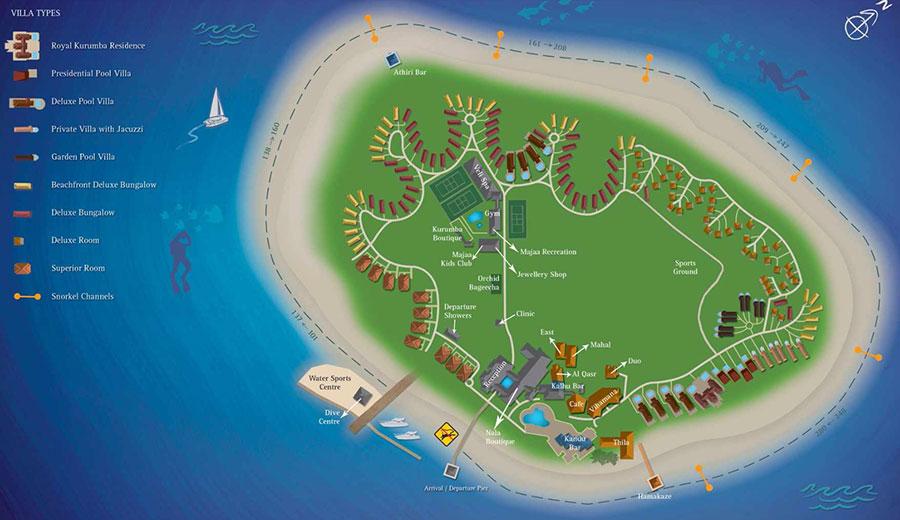 mappa Kurumba Maldive, Map Maldives
