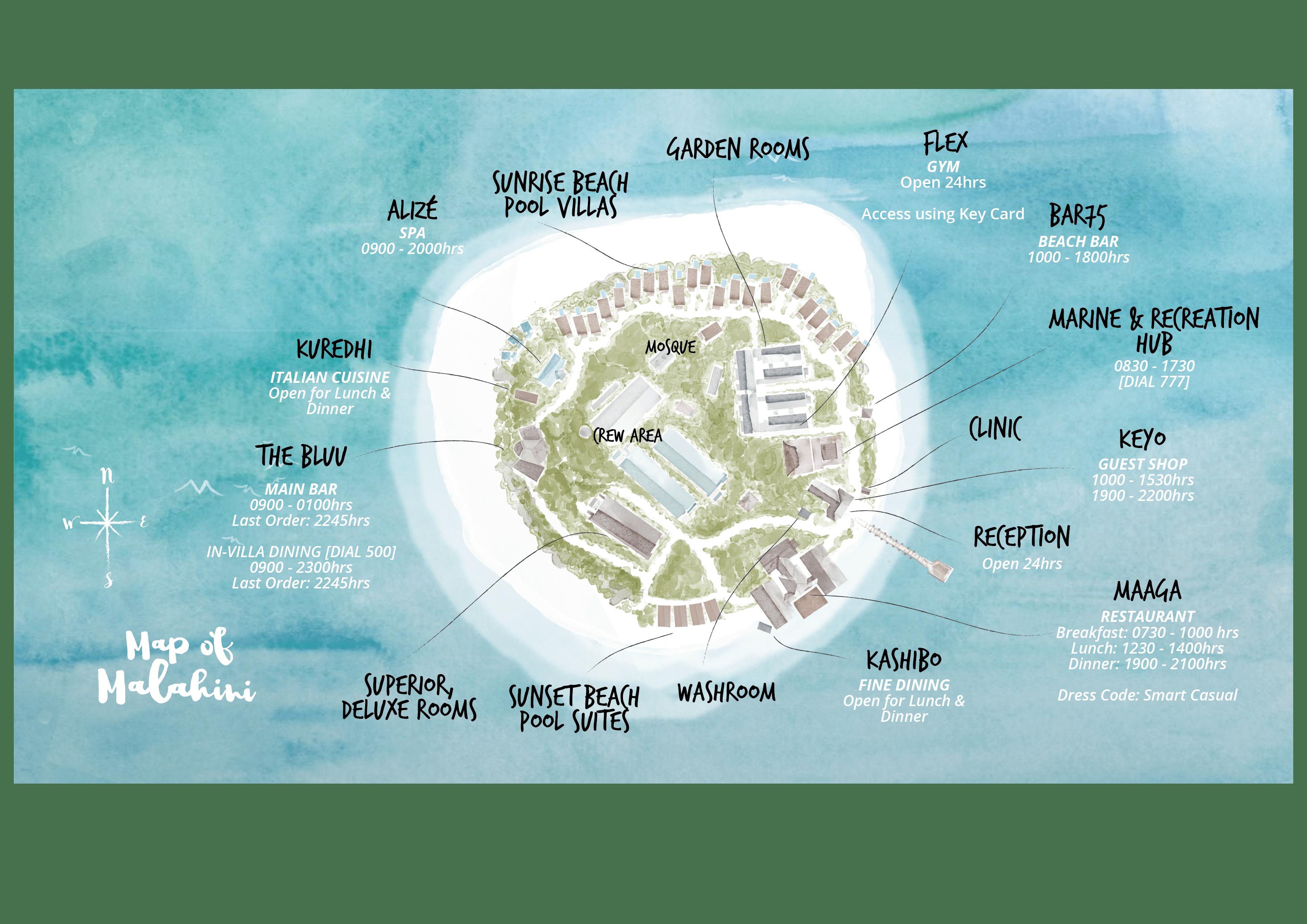 mappa Malahini Kuda Bandos Maldive, Map Maldives