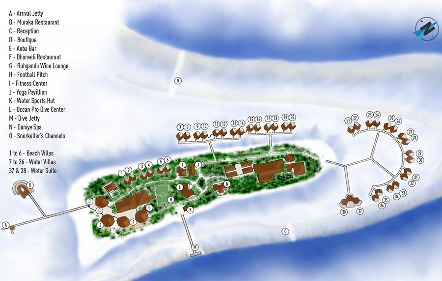 mappa Mirihi Maldive, Map Maldives