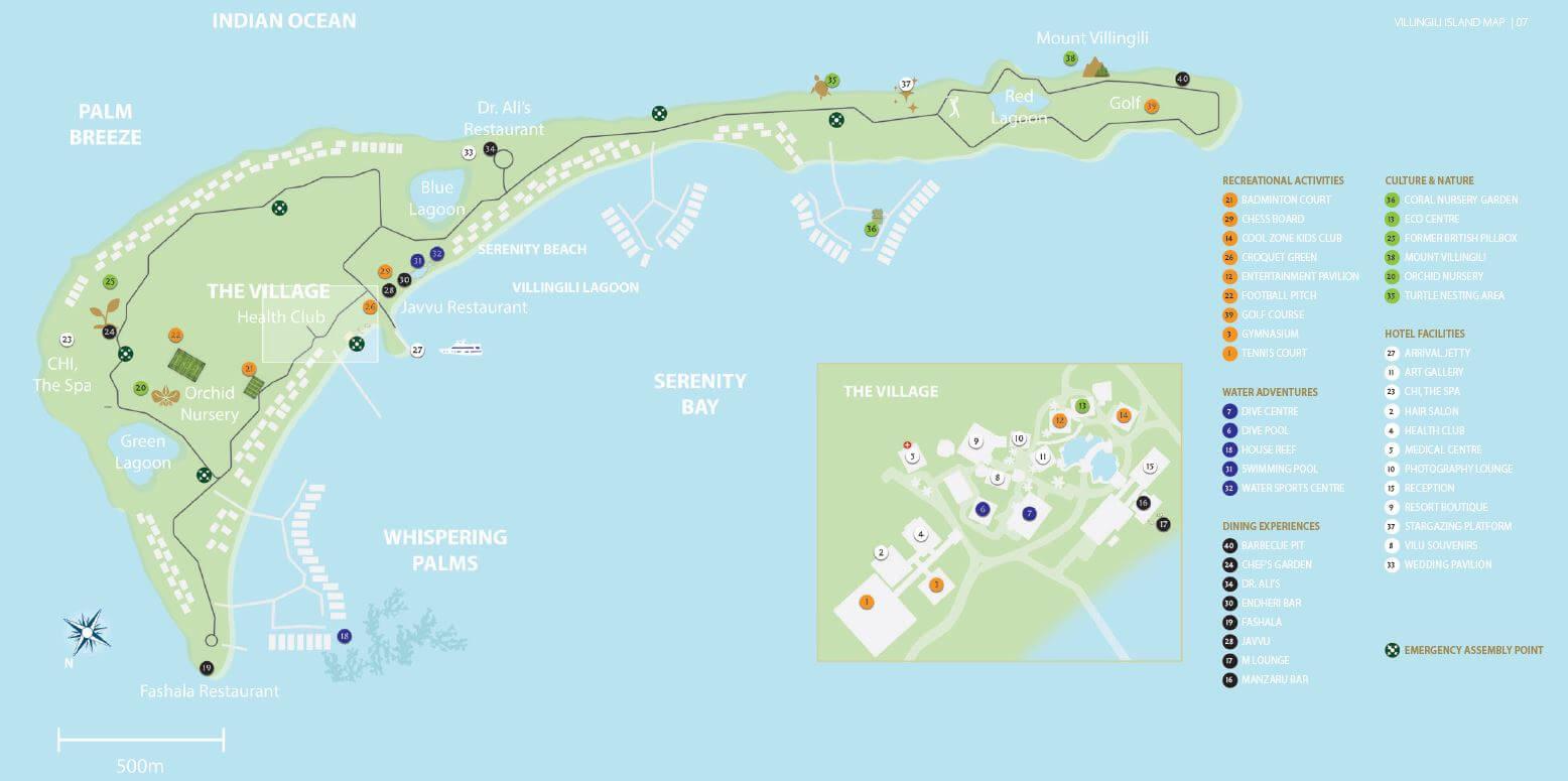 mappa Shangri-La's Villingili Resort Maldive, Map Maldives