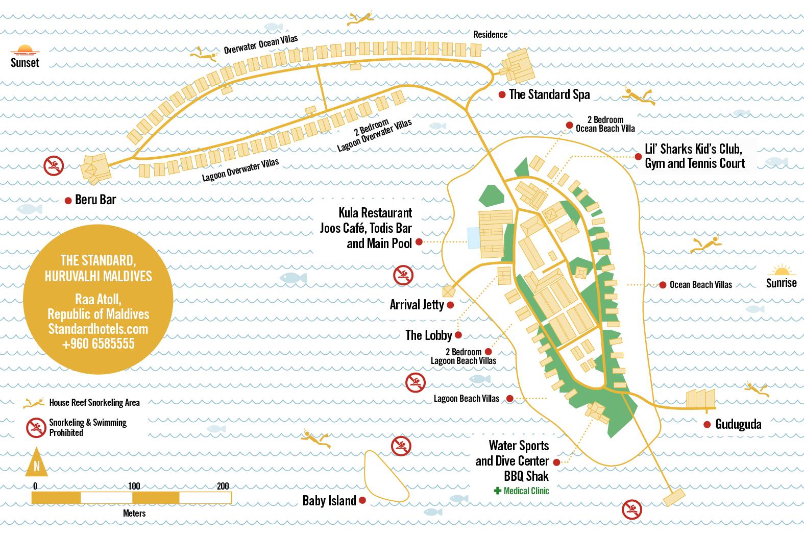 mappa The Standard Huruvalhi Maldives, Map Maldives
