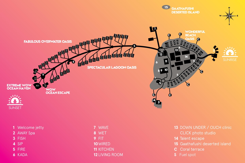 mappa W Retreat Fesdu Maldive, Map Maldives