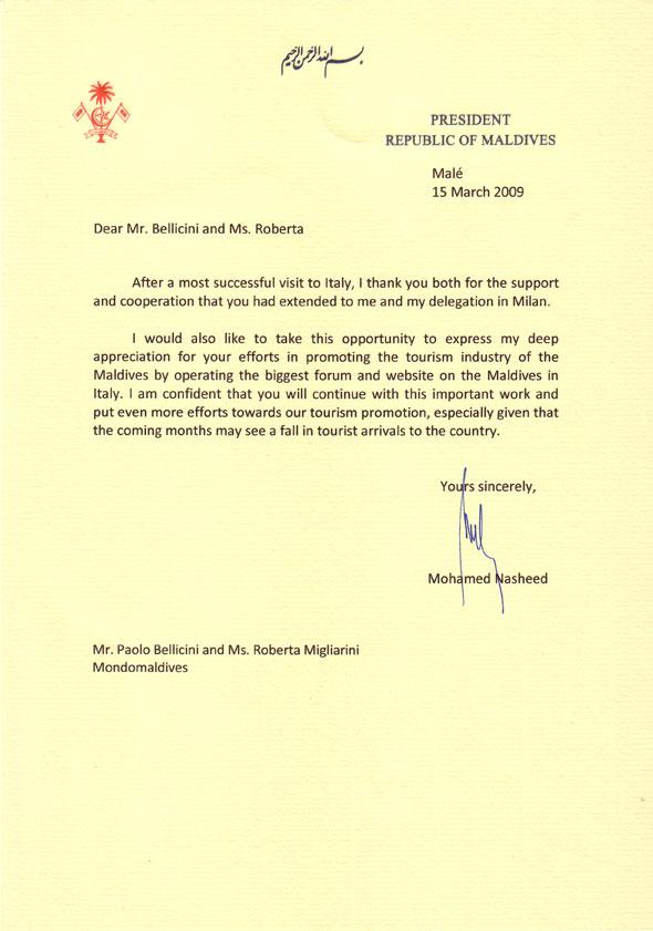 Lettera Presidente Nasheed a Mondo maldive