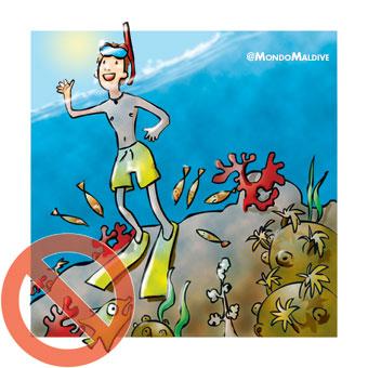 Non appoggiarti sui coralli con le pinne.
